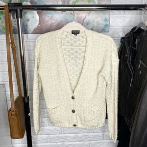 Topshop // Cream Knit Button Down Front Cardigan